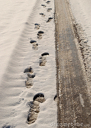 Footprints and tyre tracks