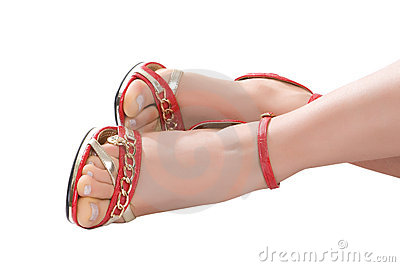 Foots in red sandals