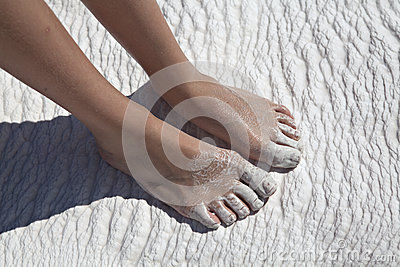 Foots on travertine, Pamukkale, Denizli