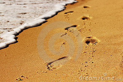 Footstep on beach