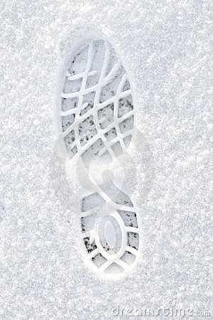 Footstep on the snow