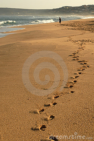 Footsteps in the beach