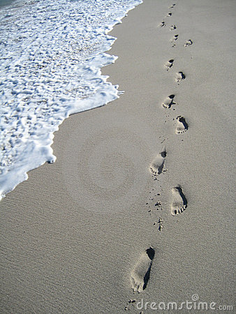 Footsteps at the beach