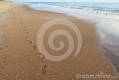 Footsteps on a beach in North Carolina