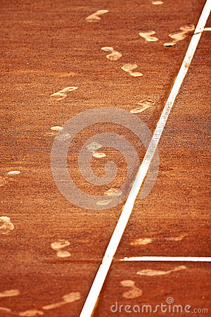 Footsteps on a Clay Tennis Court