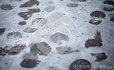 Footsteps in fresh wet snow