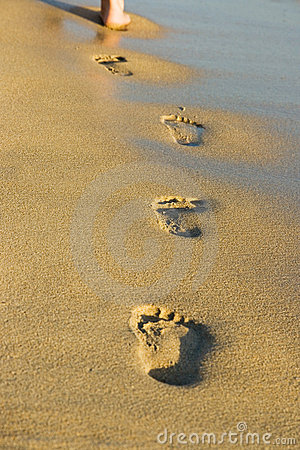 Free Footsteps In The Sand Stock Images - 5719564