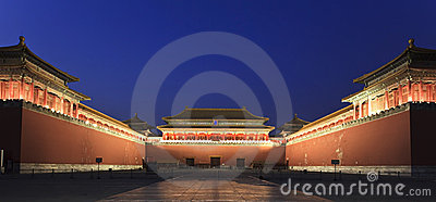 Forbidden City at dusk in Beijing, China.
