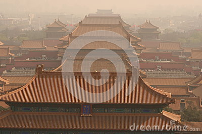 Forbidden City roofs Editorial Stock Photo