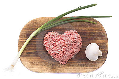 Forcemeat in the form of heart