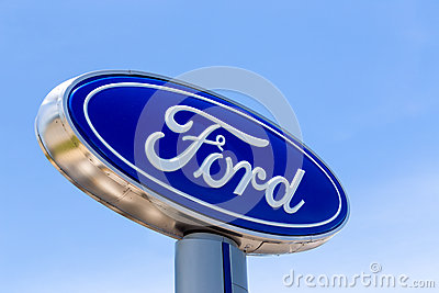 ford automobile dealership sign editorial stock image