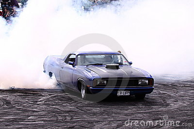 Ford V8 Ute doing a burnout