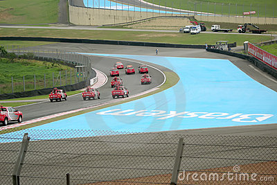 Forecars on first lap Editorial Stock Photo