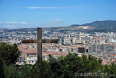 Foreground cross with the city of Marseille
