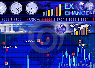 Foreign currency exchange market scene