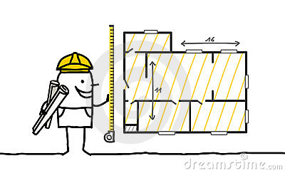 Foreman measuring a plan