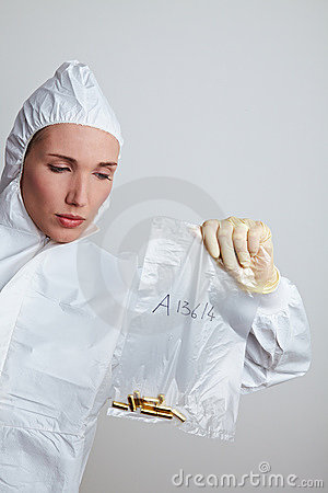 Forensic scientist securing