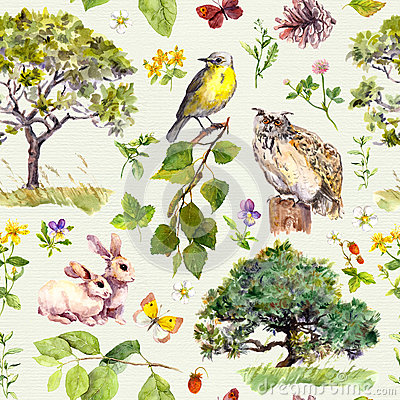 Free Forest And Park: Bird, Rabbit Animal, Tree, Leaves, Flowers, Grass. Seamless Pattern. Watercolor Stock Images - 91600854