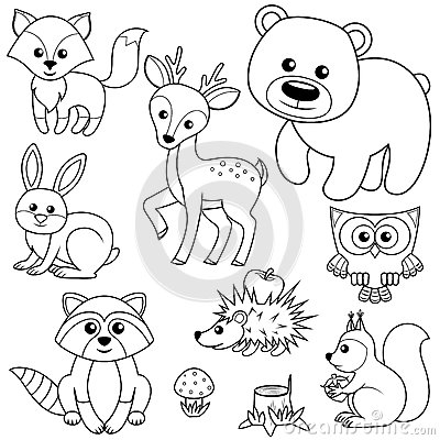 Free Forest Animals. Fox, Bear, Raccon, Hare, Deer, Owl, Hedgehog, Squirrel, Agaric And Tree Stump. Black And White Vector Illustration Royalty Free Stock Photography - 94141677