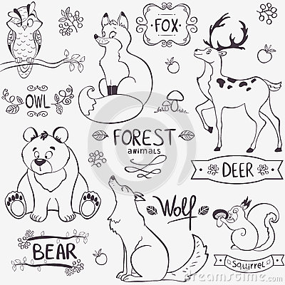 Stock Photos Forest Animals Silhouette Illustration Set Cute Design Names Image35566383 on baby deer clip art