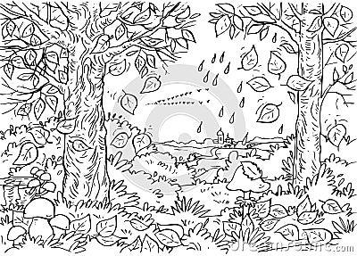 Autumn farm coloring page