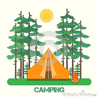 Forest camp Vector Illustration