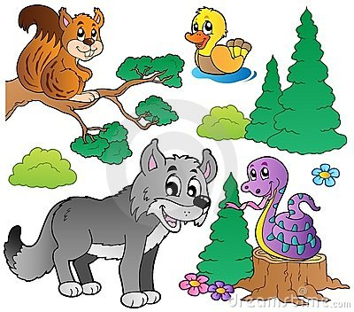 Forest cartoon animals set 2 Vector Illustration