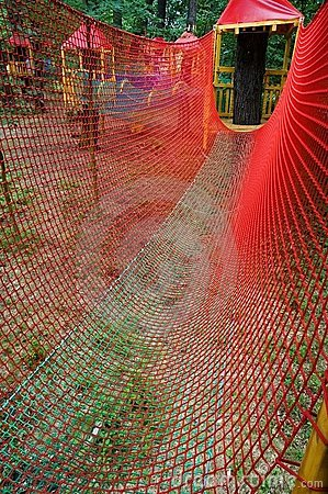 Forest children's obstacle course from ropes
