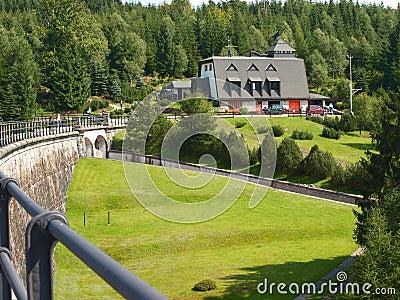 Forest dam.  Dam reservoir.