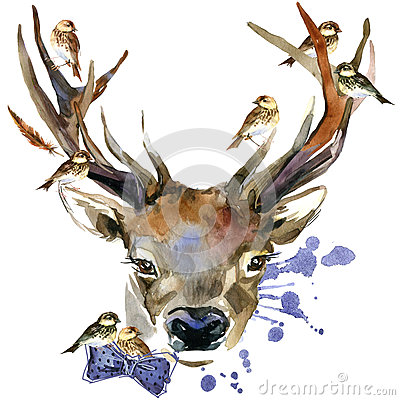 Free Forest Deer And Birds T-shirt Graphics. Deer Illustration With Splash Watercolor Textured Background. Stock Images - 61341124