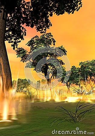 Forest fire starting - 3D render