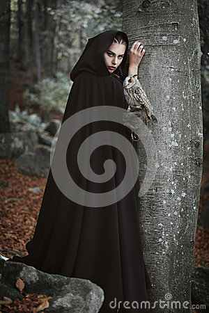 Free Forest Keeper With Grey Owl Stock Photo - 79015840