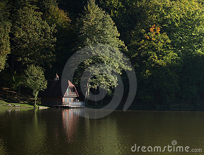 Forest Lake And Cottage Royalty Free Stock Photos - Image: 3391378