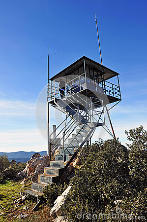 Free Forest Lookout Tower In Sierra Madrona, Ciudad Real Province, Spain Stock Photo - 66562730