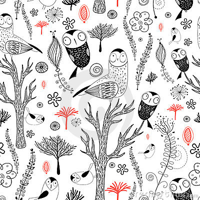 Forest pattern with owls