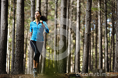 Forest running woman