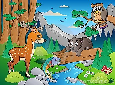 Forest scene with various animals 1 Vector Illustration
