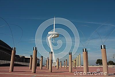 Forest of strange trees artifi & Calatrava tower Editorial Stock Image