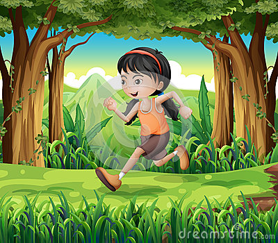 A forest with a young girl running
