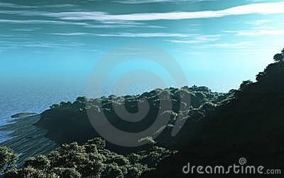 Forested coastline