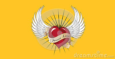 Forever love is flying with a pair of angel wings.