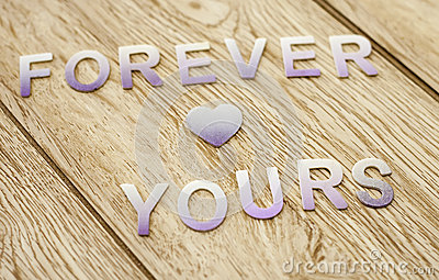 Forever yours on wooden background wallpaper