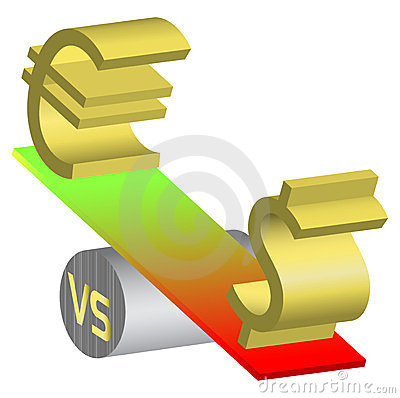 Forex Euro Dollar Currency On See-Saw Illustration