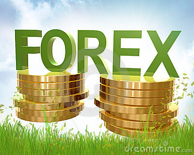 Forex trading and gold coins symbol