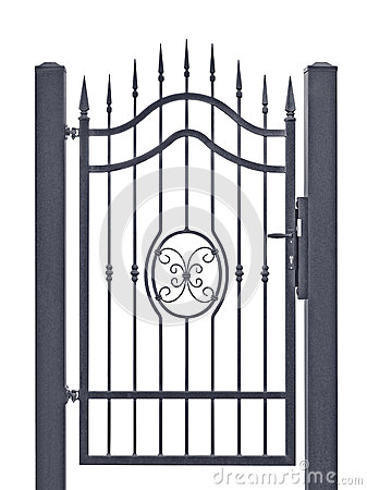 Free Forged Decorative Pedestrian Gate, Isolated Vertical Large Detailed Dark Grey Silhouette Closeup Wrought Iron Fleur-de-lis Lattice Stock Photography - 56658132
