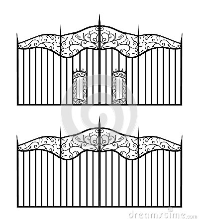 Forged gate with sharp spikes and doors isolated o