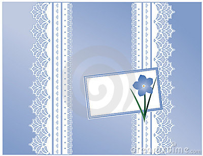 Forget Me Not Gift Box, Blue Satin Lace, Card