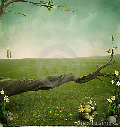 Free Forgotten Basket, Background For The Easter Cards Royalty Free Stock Images - 13027109