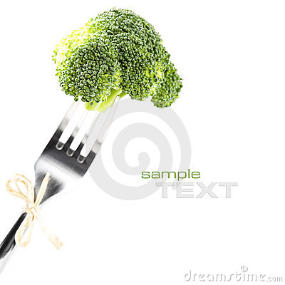 Fork with fresh broccoli