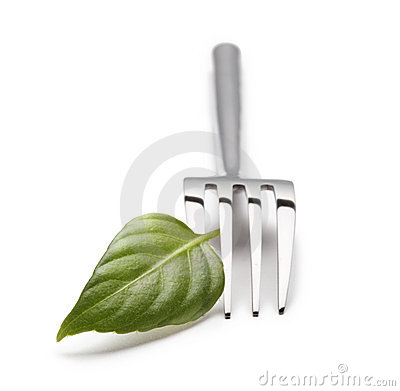 Fork with green leaf